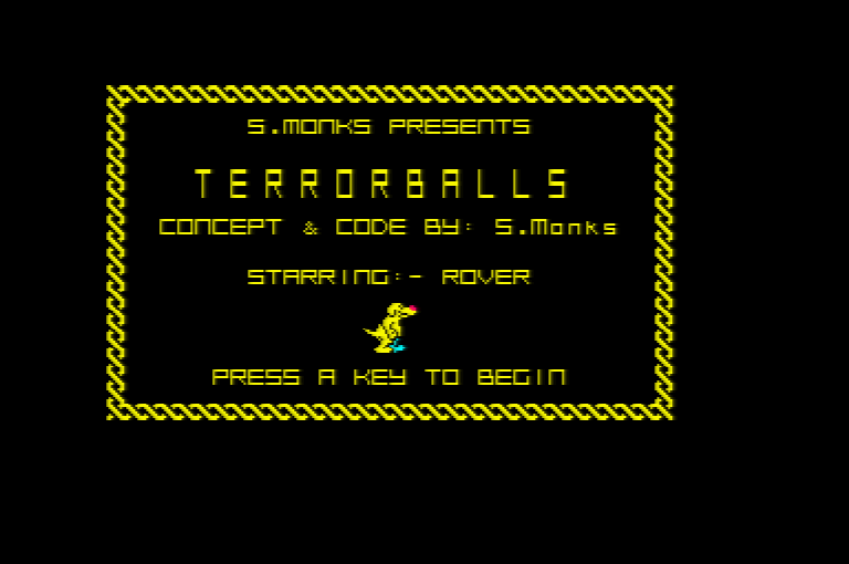 Amstrad CPC Terrorballs splash screen